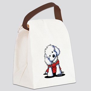 Maltese In Dots Canvas Lunch Bag