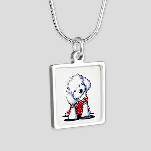 Maltese In Dots Silver Square Necklace