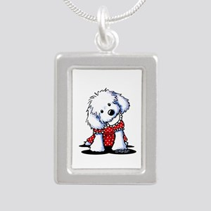 Maltese In Dots Silver Portrait Necklace