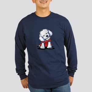 Maltese In Dots Long Sleeve Dark T-Shirt
