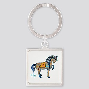 Tang Horse Two Square Keychain