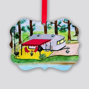 Air stream Camper on the lake Picture Ornament