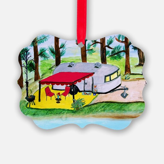 Air stream Camper on the lake Ornament