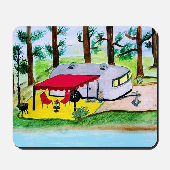 Air stream Camper on the lake Mousepad
