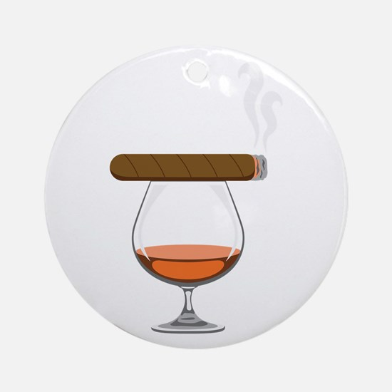 Brandy Cognac Cigar Ornament (Round)