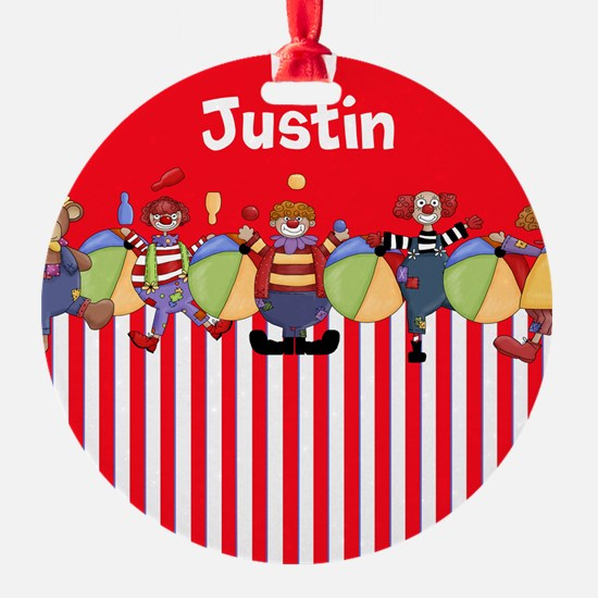 Fun Clowns Red Personalized Ornament