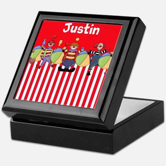 Fun Clowns Red Personalized Keepsake Box