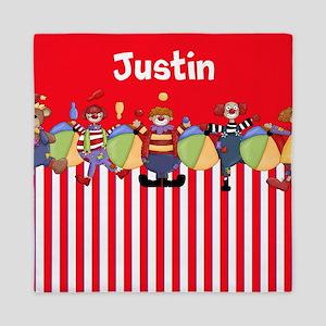 Fun Clowns Red Personalized Queen Duvet
