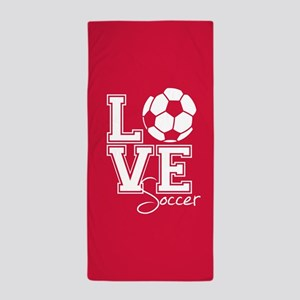 Love Soccer, Crimson Red3 Beach Towel