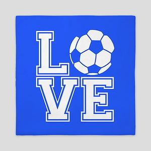 Love Soccer, Royal Blue1 Queen Duvet