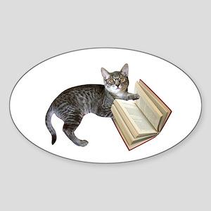 Reading Cat Sticker (Oval)