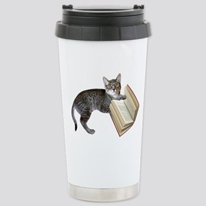 Reading Cat Stainless Steel Travel Mug