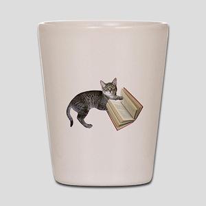 Reading Cat Shot Glass