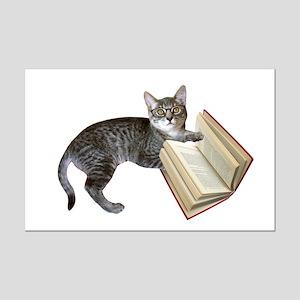 Reading Cat Mini Poster Print