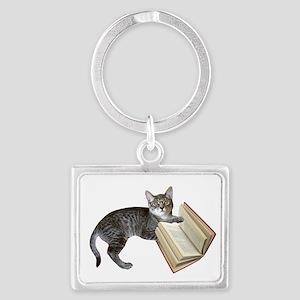 Reading Cat Landscape Keychain