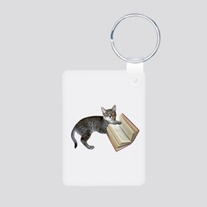 Reading Cat Aluminum Photo Keychain
