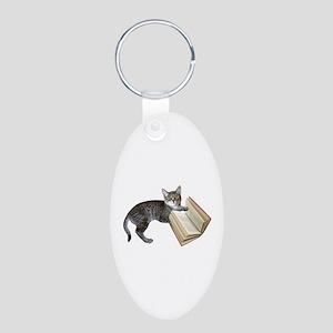 Reading Cat Aluminum Oval Keychain