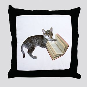 Reading Cat Throw Pillow