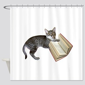 Reading Cat Shower Curtain