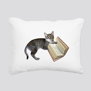 Reading Cat Rectangular Canvas Pillow