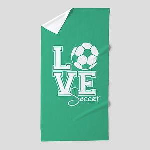 Love Soccer, Mint Green3 Beach Towel