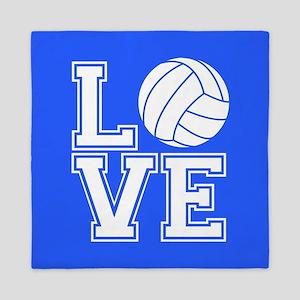 Love Volleyball, Royal Blue1 Queen Duvet