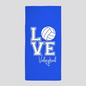 Love Volleyball, Royal Blue3 Beach Towel