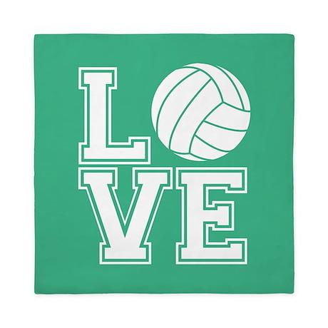 Love Volleyball Mint Green1 Queen Duvet By Clipartmegamart
