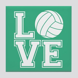Love Volleyball, Mint Green1 Tile Coaster