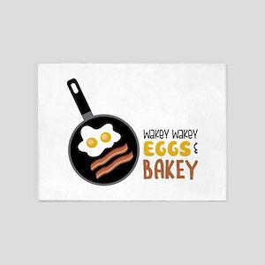 Wakey Wakey Eggs Bakey 5'x7'Area Rug