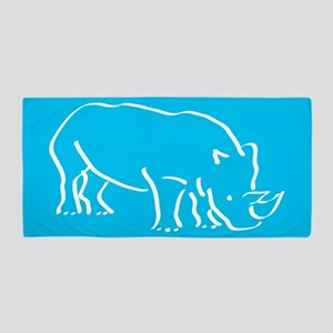 Blue Rhinoceros Beach Towel