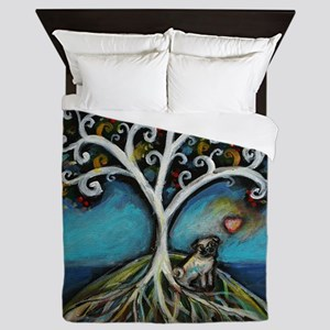 Pug love Tree of Life Queen Duvet