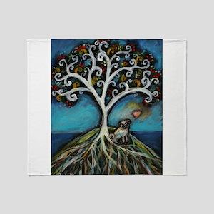 Pug love Tree of Life Throw Blanket