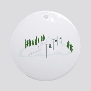 Ski Lift Ornament (Round)