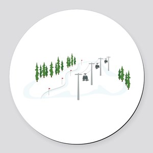Ski Lift Round Car Magnet