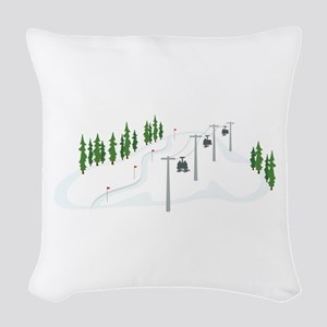 Ski Lift Woven Throw Pillow