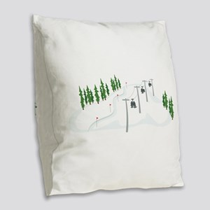 Ski Lift Burlap Throw Pillow