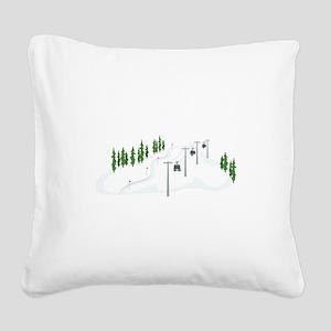 Ski Lift Square Canvas Pillow