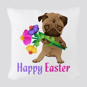 Happy Easter Pug with Flowers Woven Throw Pillow