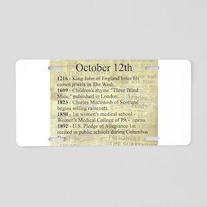 October 12th Aluminum License Plate