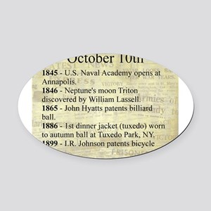 October 10th Oval Car Magnet