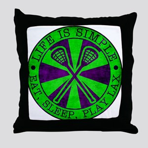 Life is Simple, Eat, Sleep, Play LAX Throw Pillow