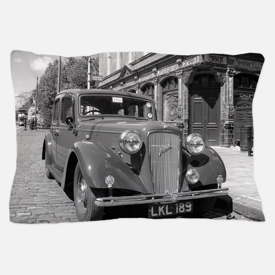 Classic car and English Pub scene Pillow Case