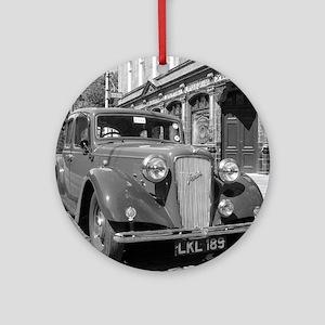 Classic car and English Pub scene Round Ornament