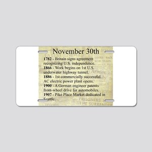 November 30th Aluminum License Plate