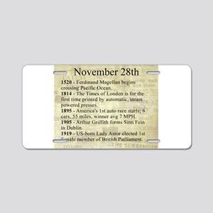 November 28th Aluminum License Plate