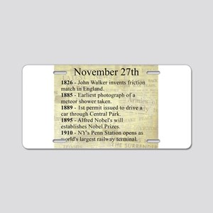 November 27th Aluminum License Plate