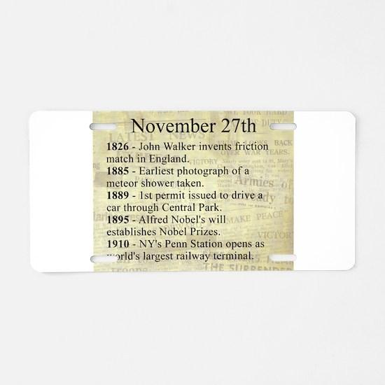 November 27th Aluminum License Plate