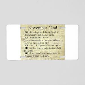 November 22nd Aluminum License Plate