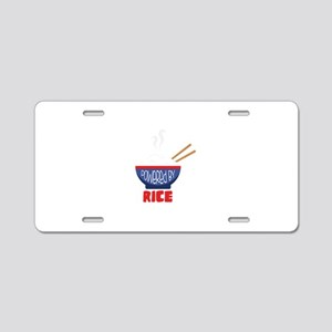 Powered By Rice Aluminum License Plate